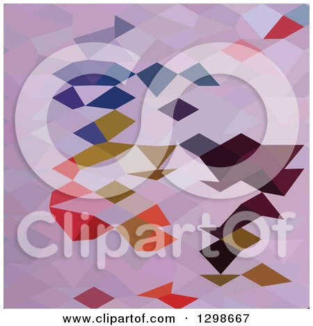 Clipart of a Low Poly Abstract Geometric Background of Clowns - Royalty Free Vector Illustration by patrimonio