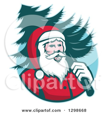 Clipart of a Retro Santa Claus Carrying a Christmas Tree over His Shoulder in a Blue Circle - Royalty Free Vector Illustration by patrimonio