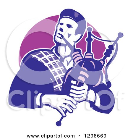 Clipart of a Retro Male Scotsman Bagpiper Emerging from a Purple Circle - Royalty Free Vector Illustration by patrimonio