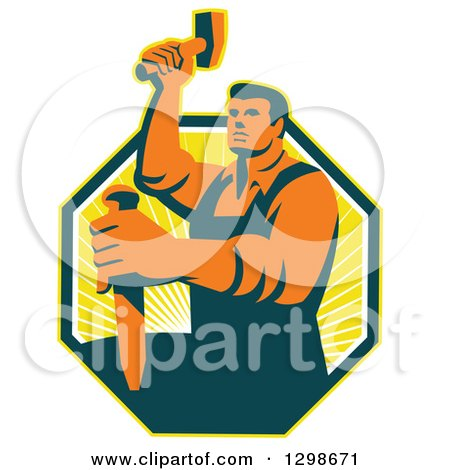 Clipart of a Retro Male Sculptor Striking a Chisel in a Yellow Sunshine Octagon - Royalty Free Vector Illustration by patrimonio