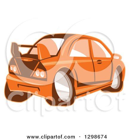 Clipart of a Retro Cartoon Orange Sports Car - Royalty Free Vector Illustration by patrimonio