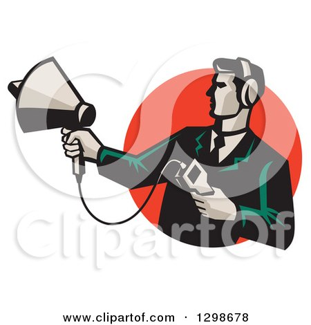 Clipart of a Retro Male Technician Holding a Sonar Radar Finder in a Red Circle - Royalty Free Vector Illustration by patrimonio