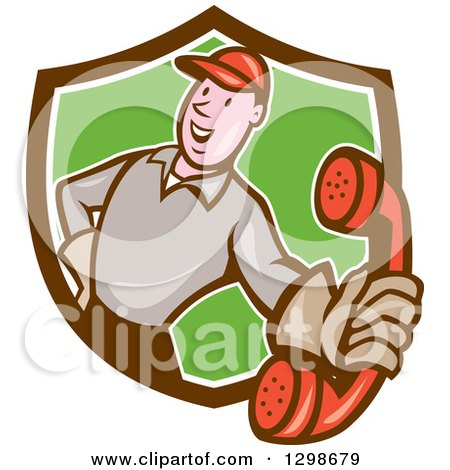 Clipart of a Cartoon White Telephone Repair Man Holding out a Red Receiver in a Brown Green and White Shield - Royalty Free Vector Illustration by patrimonio