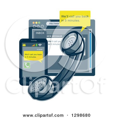 Clipart of a Retro Styled Landline Telephone, Smart Phone and Internet Browser with Customer Service Notices - Royalty Free Vector Illustration by patrimonio