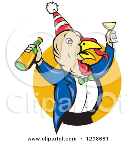 Clipart of a Turkey Bird Man Celebrating with Champagne at a Party, Emerging from a Yellow Circle - Royalty Free Vector Illustration by patrimonio