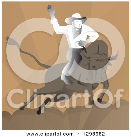 Clipart of a Retro Rodeo Cowboy on Abull over Brown - Royalty Free Vector Illustration by patrimonio