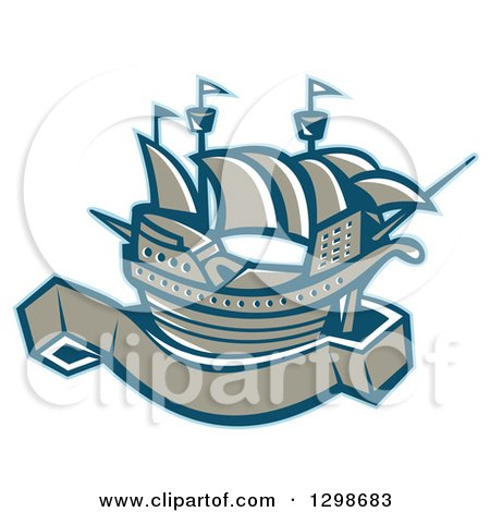 Clipart of a Retro Galleon Ship with a Blank Banner Scroll - Royalty Free Vector Illustration by patrimonio