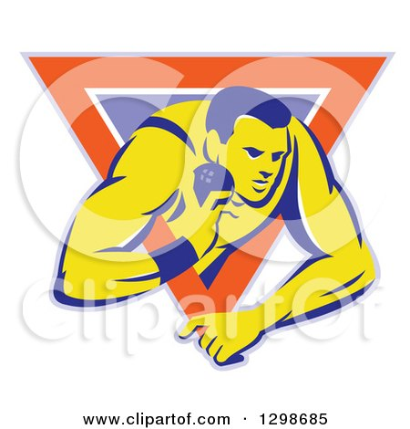 Clipart of a Retro Male Track and Field Shot Put Athlete Throwing in a Purple White and Orange Triangle - Royalty Free Vector Illustration by patrimonio