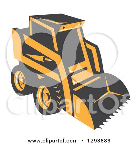 Clipart of a Retro Skid Steer Machine - Royalty Free Vector Illustration by patrimonio