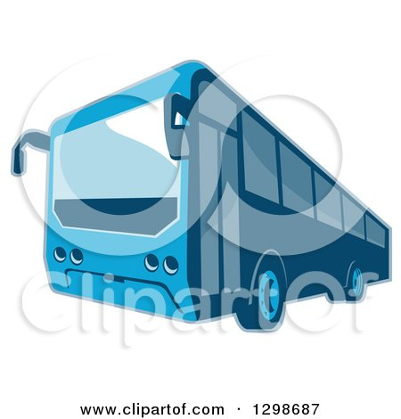 Clipart of a Retro Blue Shuttle Bus Coach - Royalty Free Vector Illustration by patrimonio