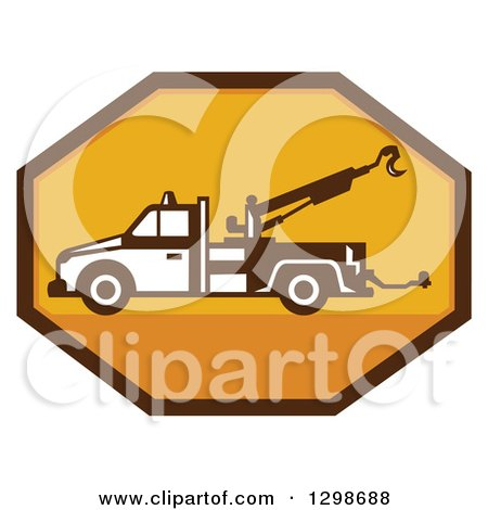Clipart of a Retro Tow Truck in a Yellow and Brown Octagon - Royalty Free Vector Illustration by patrimonio