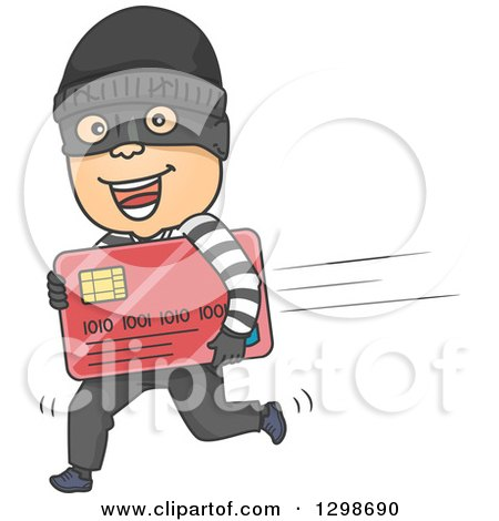 Clipart of a Cartoon White Male Robber Running with a Stolen Credit Card - Royalty Free Vector Illustration by BNP Design Studio