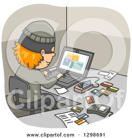 Clipart of a Thief Using a Device and Laptop to Commit Credit Card Fraud - Royalty Free Vector Illustration by BNP Design Studio