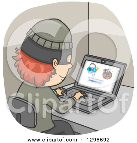 Clipart of a Thief Illegally Downloading Internet Files - Royalty Free Vector Illustration by BNP Design Studio