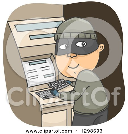 Clipart of a Criminal Installing a Credit Card Skimmer on an Atm Machine - Royalty Free Vector Illustration by BNP Design Studio