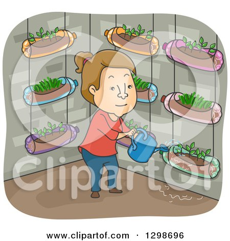 Clipart of a Brunette White Woman Watering Her Vetical Garden Made of Recycled Soda Bottles - Royalty Free Vector Illustration by BNP Design Studio