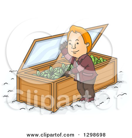 Clipart of a Cartoon Red Haired White Man Opening His Winter Garden - Royalty Free Vector Illustration by BNP Design Studio