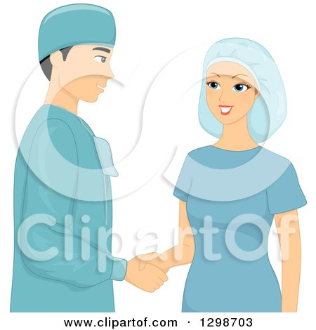 Clipart of a Male Plastic Surgeon and Patient in Scrubs, Shaking Hands - Royalty Free Vector Illustration by BNP Design Studio