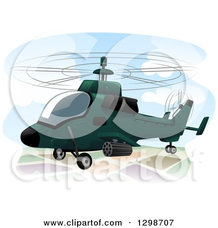 Clipart Of A Military Assault Helicopter Royalty Free Vector Illustration