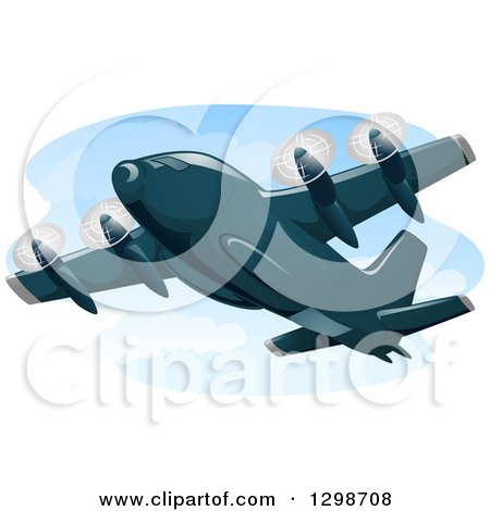 Clipart of a Cargo Plane in Flight - Royalty Free Vector Illustration by BNP Design Studio