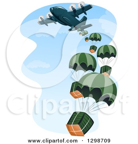 Clipart Of A Cargo Plane Making A Drop Royalty Free Vector Illustration