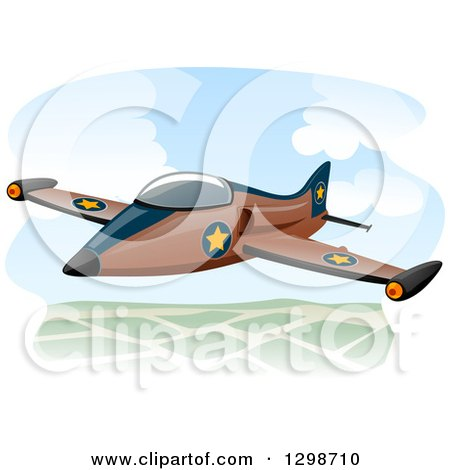 Clipart of a Military Jet Flying - Royalty Free Vector Illustration by BNP Design Studio