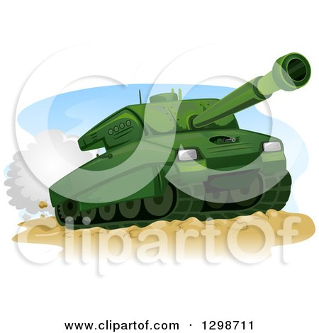 Clipart of a Green Military Tank in Action - Royalty Free Vector Illustration by BNP Design Studio