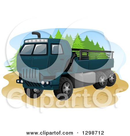Clipart of a Blue Army Truck - Royalty Free Vector Illustration by BNP Design Studio