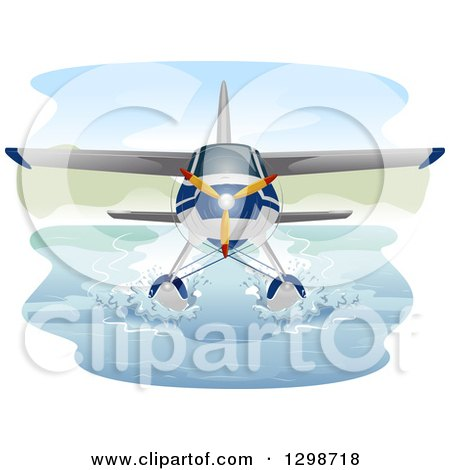 Clipart of a Seaplane Cruising on Water - Royalty Free Vector Illustration by BNP Design Studio