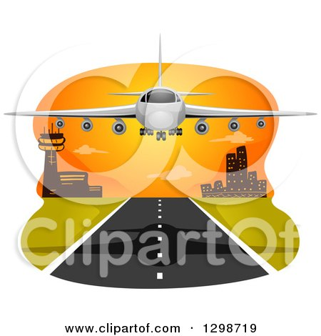 Clipart of a Commercial Airliner Landing at Sunset - Royalty Free Vector Illustration by BNP Design Studio