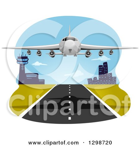 Clipart of a Commercial Airliner Departing - Royalty Free Vector Illustration by BNP Design Studio