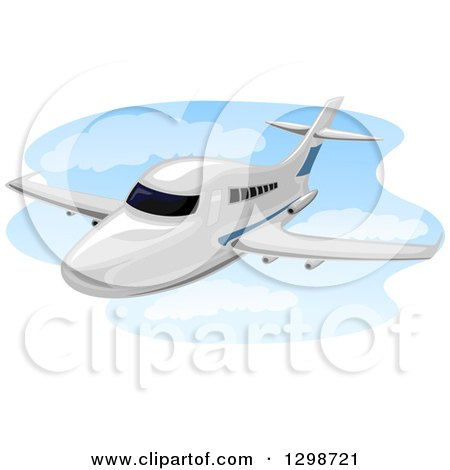 Clipart of a Flying Chartered Plane - Royalty Free Vector Illustration by BNP Design Studio