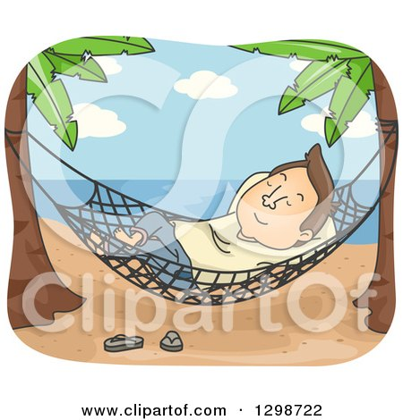 Clipart of a Cartoon Brunette White Man Relaxing in a Hammock on a Tropical Beach - Royalty Free Vector Illustration by BNP Design Studio