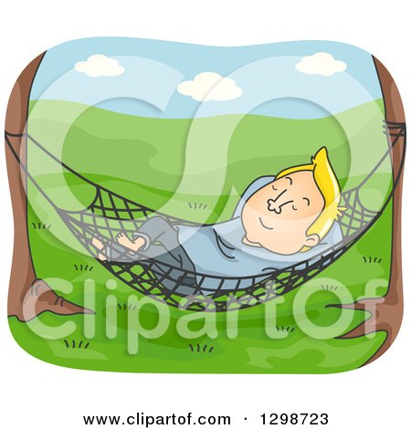 Clipart of a Cartoon Blond White Man Relaxing in a Hammock in a Meadow - Royalty Free Vector Illustration by BNP Design Studio