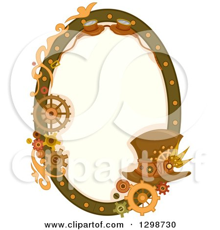 Clipart of an Oval Steampunk Frame with Gears, Goggles and a Hat - Royalty Free Vector Illustration by BNP Design Studio