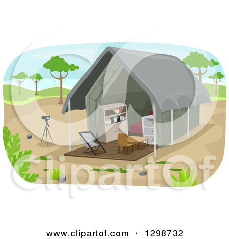 Clipart of a Safari Lodge Tent and Camera on a Tripod - Royalty Free Vector Illustration by BNP Design Studio