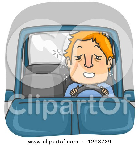 Clipart of a Cartoon Red Haired White Man Drunk Driving - Royalty Free Vector Illustration by BNP Design Studio