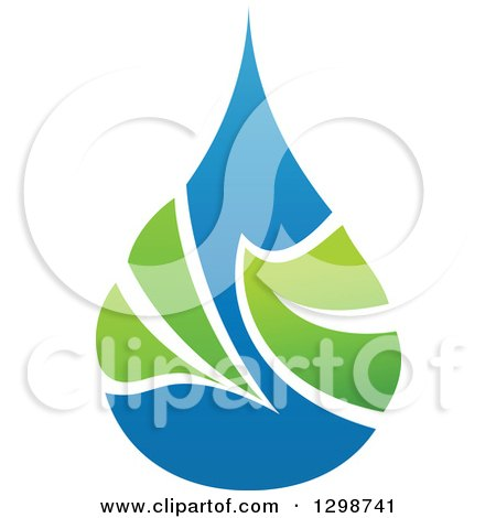 Clipart of a Blue Water Drop and Green Leaf Ecology Design 5 - Royalty Free Vector Illustration by elena