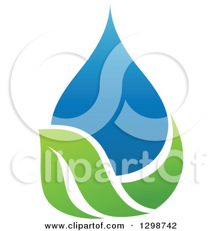 Clipart of a Blue Water Drop and Green Leaf Ecology Design 6 - Royalty Free Vector Illustration by elena