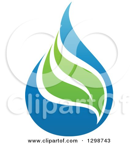 Clipart of a Blue Water Drop and Green Leaf Ecology Design 7 - Royalty Free Vector Illustration by elena