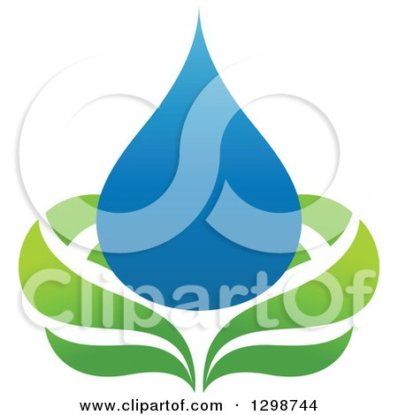 Clipart of a Blue Water Drop and Green Leaf Ecology Design 8 - Royalty Free Vector Illustration by elena