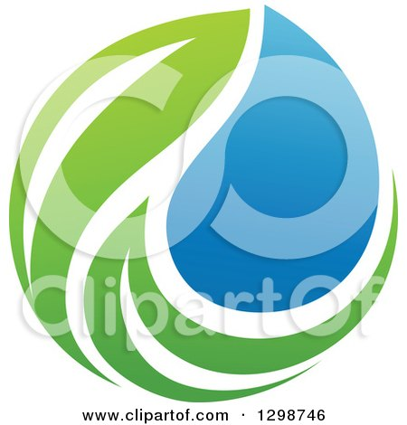 Clipart of a Blue Water Drop and Green Leaf Ecology Design - Royalty Free Vector Illustration by elena