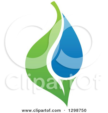 Clipart of a Blue Water Drop and Green Leaf Ecology Design 13 - Royalty Free Vector Illustration by elena