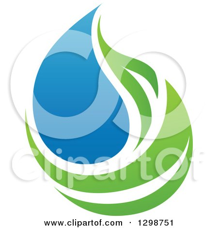 Clipart of a Blue Water Drop and Green Leaf Ecology Design 14 - Royalty Free Vector Illustration by elena