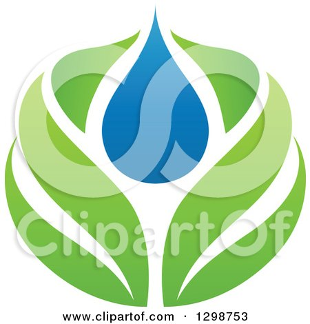 Clipart of a Blue Water Drop and Green Leaf Ecology Design 2 - Royalty Free Vector Illustration by elena