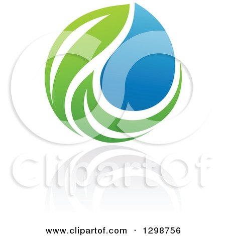Clipart of a Blue Water Drop and Green Leaf Ecology Design with a Reflection - Royalty Free Vector Illustration by elena