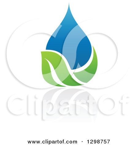 Clipart of a Blue Water Drop and Green Leaf Ecology Design with a Reflection 6 - Royalty Free Vector Illustration by elena