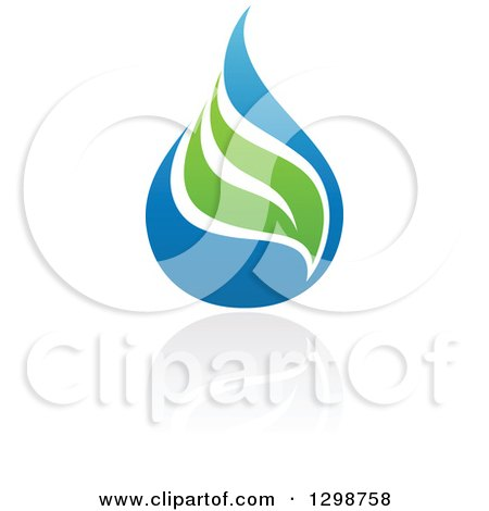 Clipart of a Blue Water Drop and Green Leaf Ecology Design with a Reflection 7 - Royalty Free Vector Illustration by elena