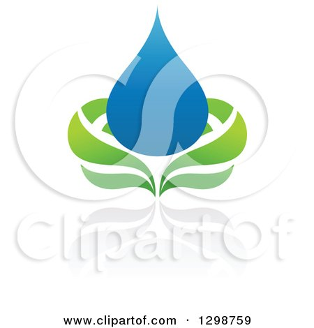 Clipart of a Blue Water Drop and Green Leaf Ecology Design with a Reflection 8 - Royalty Free Vector Illustration by elena