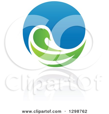 Clipart of a Blue Water Drop and Green Leaf Ecology Design with a Reflection 11 - Royalty Free Vector Illustration by elena